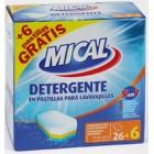 Lavavajillas Mical Pastillas 5 En 1 26 + 6 ud <hr>0.09€ / Unidad