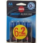 Pila Alcalina Zero AA Bli 6+2 Und <hr>0.24€ / Unidad