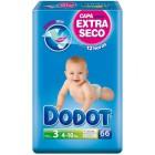 Pañal Dodot T3 4-10 Kg 66 Und <hr>0.23€ / Unidad